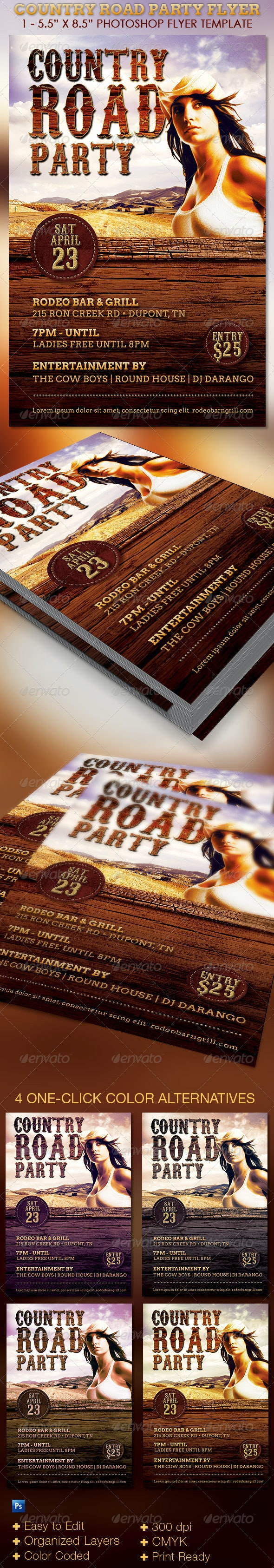 Country Road Party Flyer Template - Clubs & Parties Events