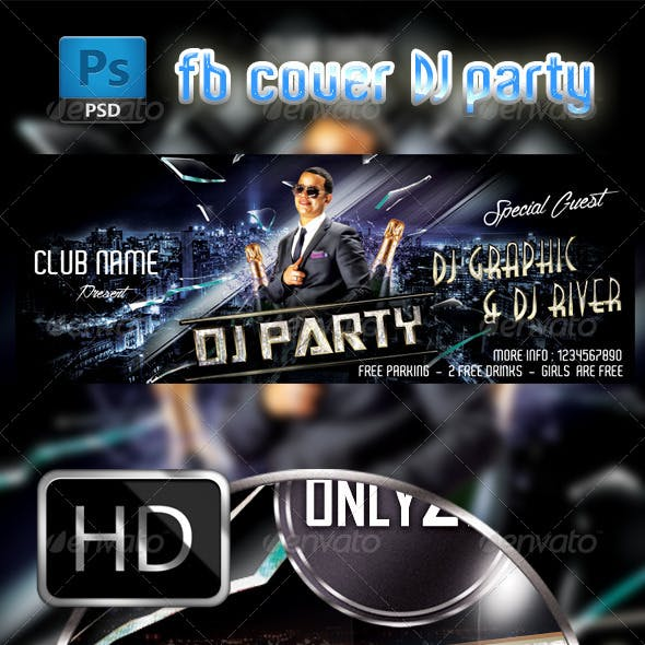 DJ Party FB Cover Template