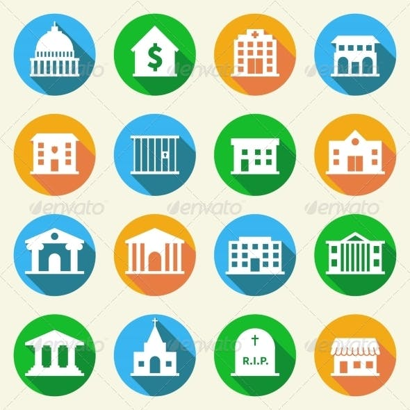 Government Buildings Icons Flat