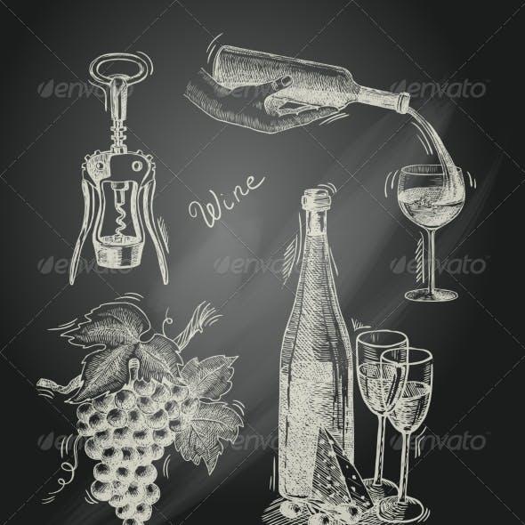 Wine Chalkboard Decorative Set