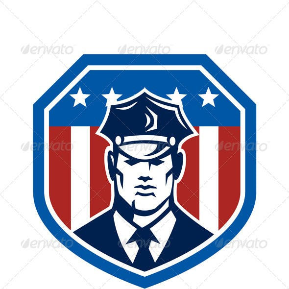 American Security Guard Flag Shield Retro