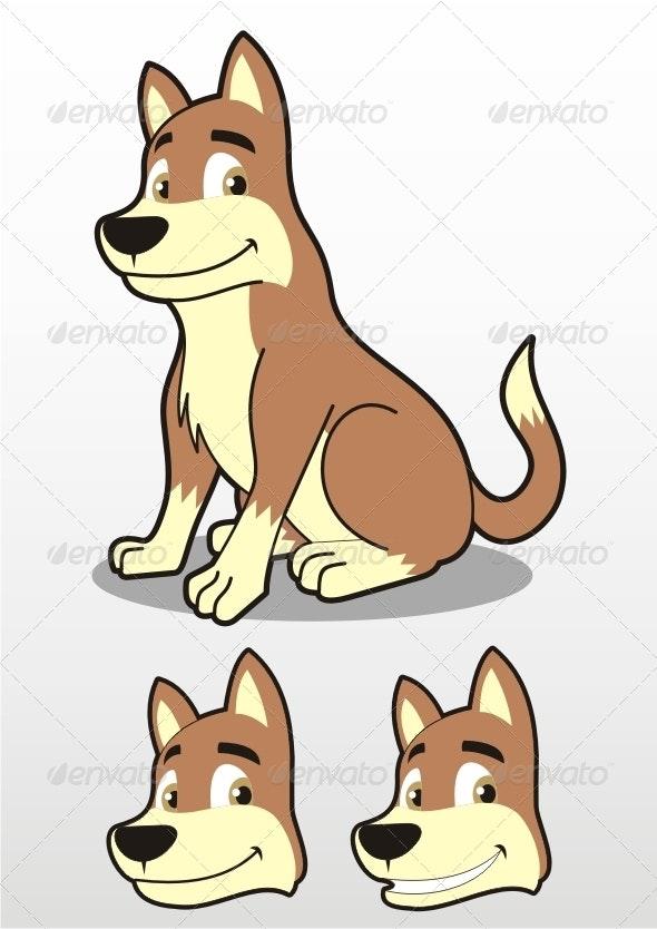 Sitting Dog Illustration - Animals Characters
