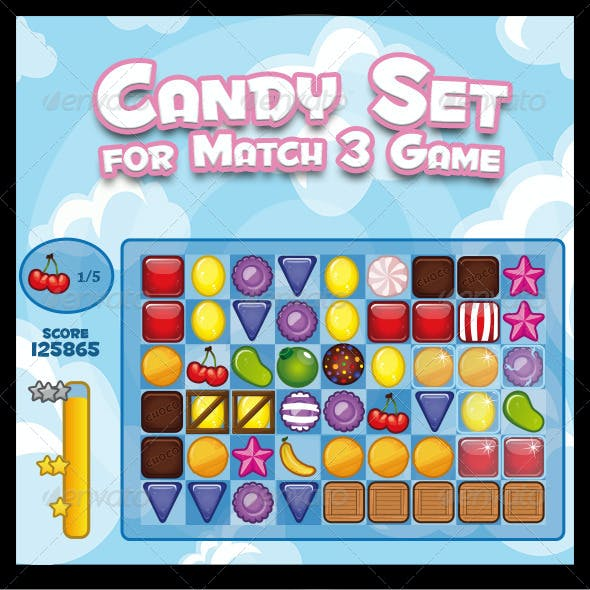 Candy Set for Match 3 Puzzle Game