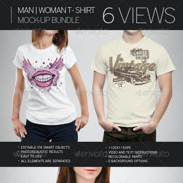 Man | Woman T-Shirt Mock-Up Bundle
