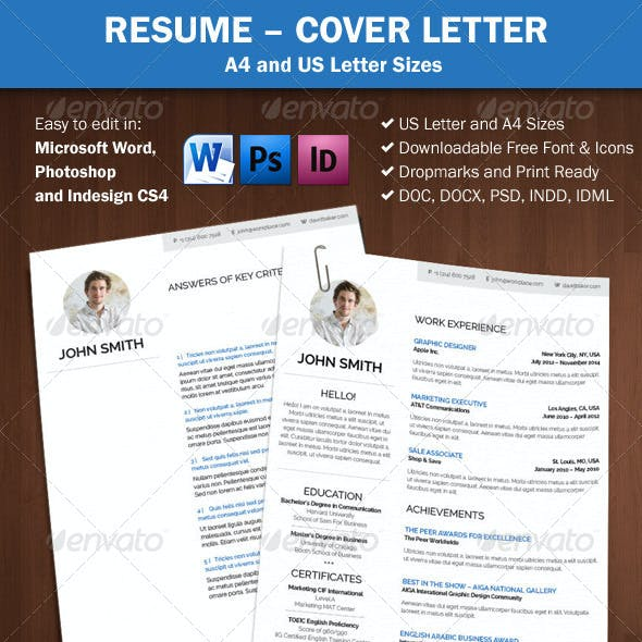 Resume / Cover Letter A4 and Us Letter Sizes