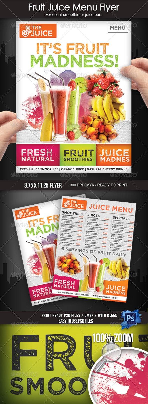 Fruit Juice Menu Flyer - Food Menus Print Templates