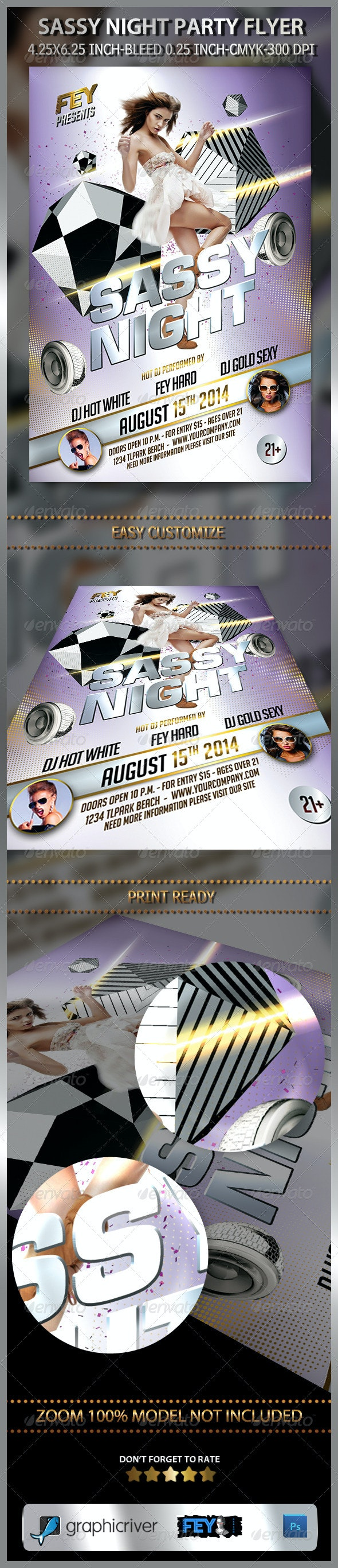 Sassy Night Party Flyer - Clubs & Parties Events