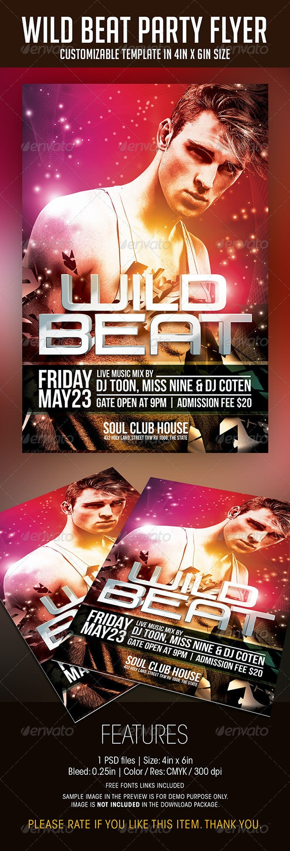 Wild Beat Party Flyer - Clubs & Parties Events