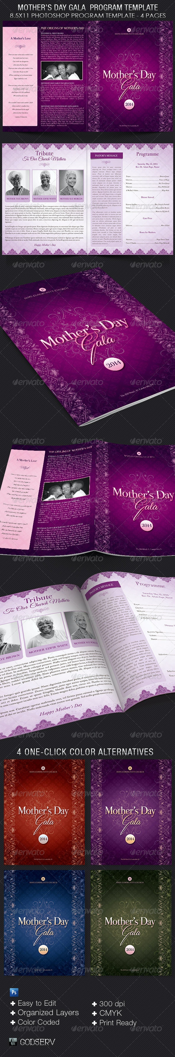 Lavender Mothers Day Gala Program Template - Informational Brochures