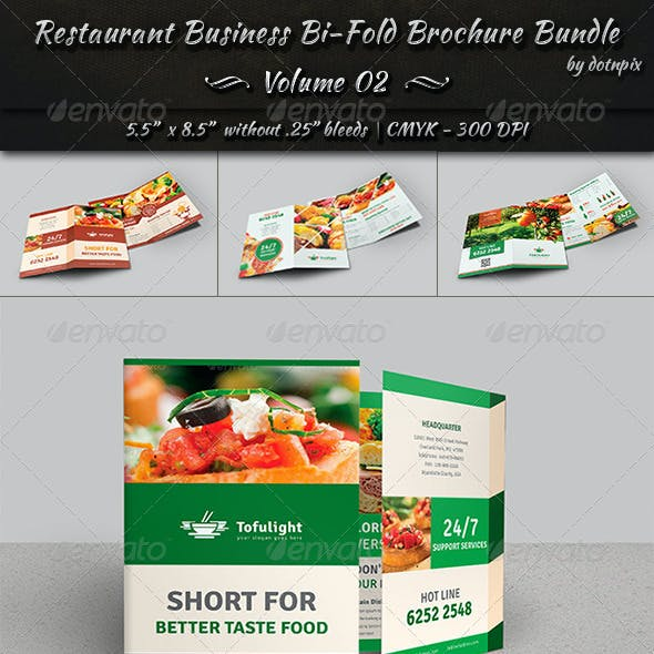 Restaurant Bi-Fold Brochure Bundle | Volume 2