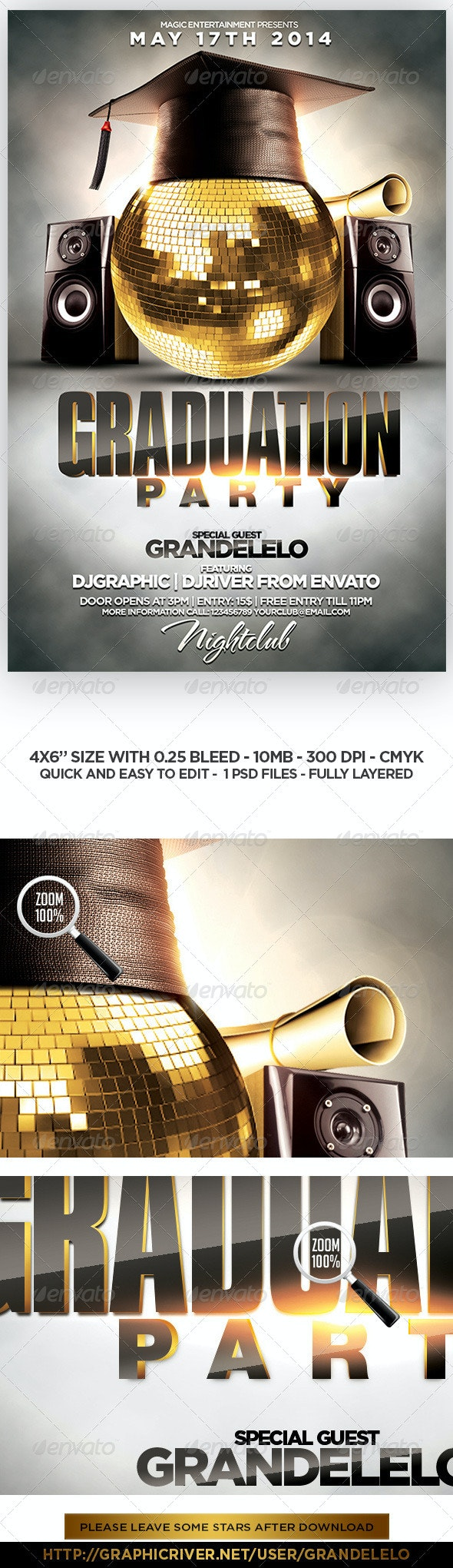 Graduation Party Flyer Template by grandelelo | GraphicRiver