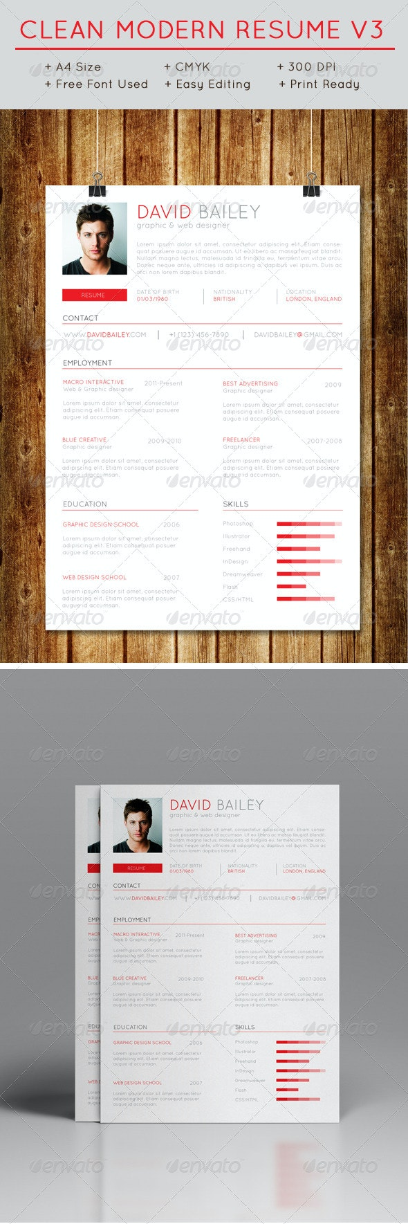 Clean Modern Resume V3 - Resumes Stationery