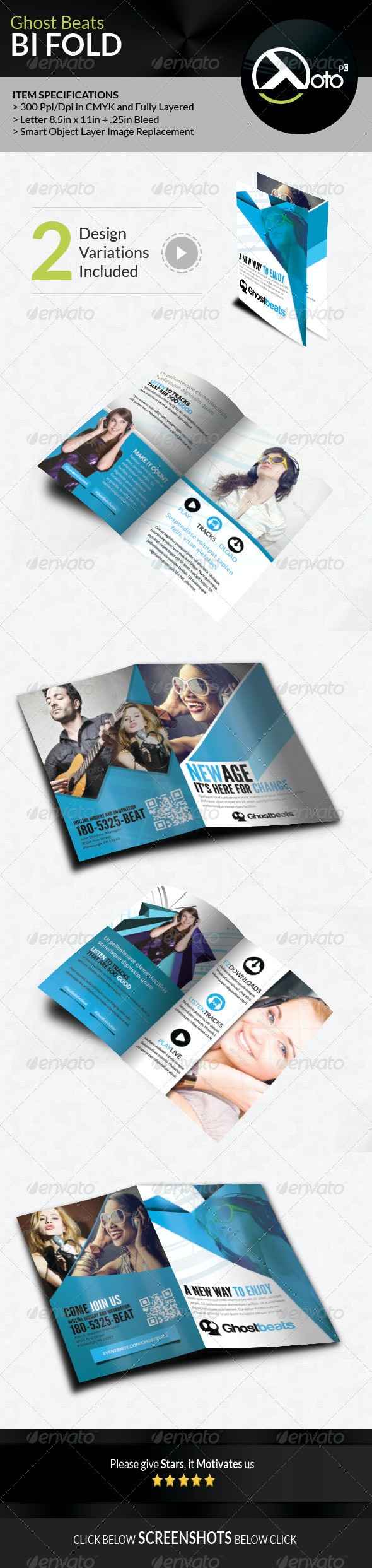 Ghost Beats Music Downloads BiFold - Brochures Print Templates
