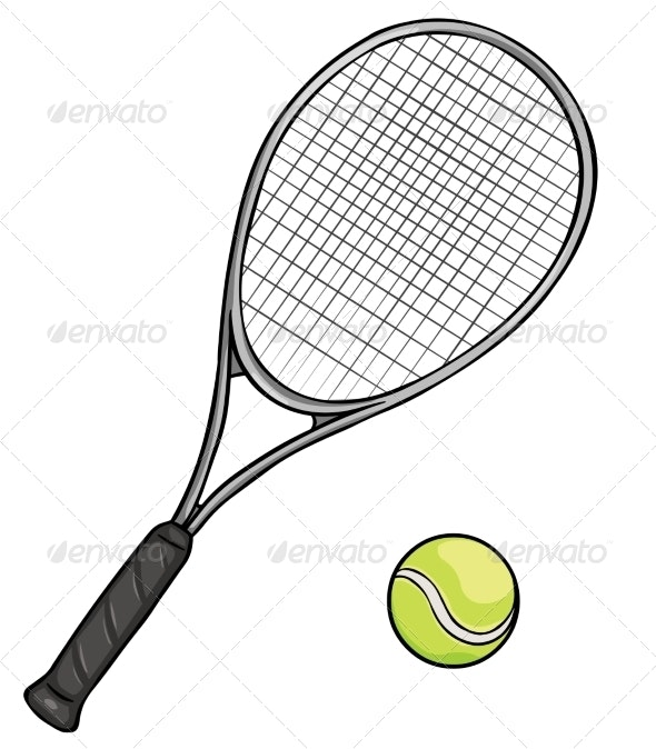 Cartoon Tennis Racket And Ball By Nikiteev Graphicriver