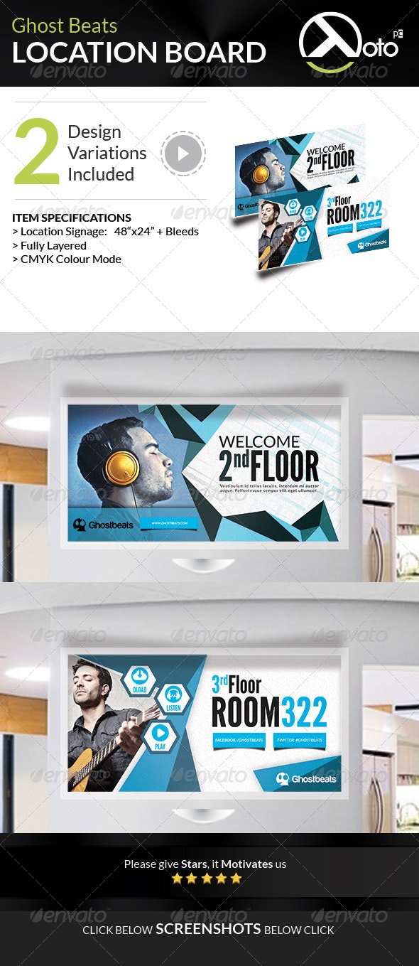 Ghost Beats Music Downloads Location Board - Signage Print Templates