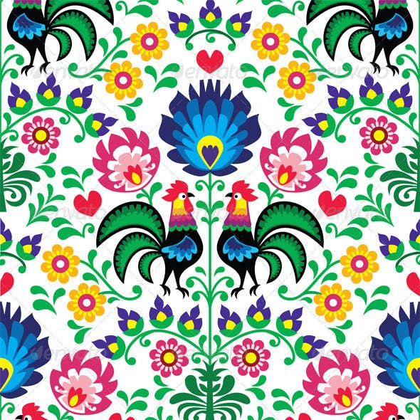 Seamless Traditional Floral Polish Pattern