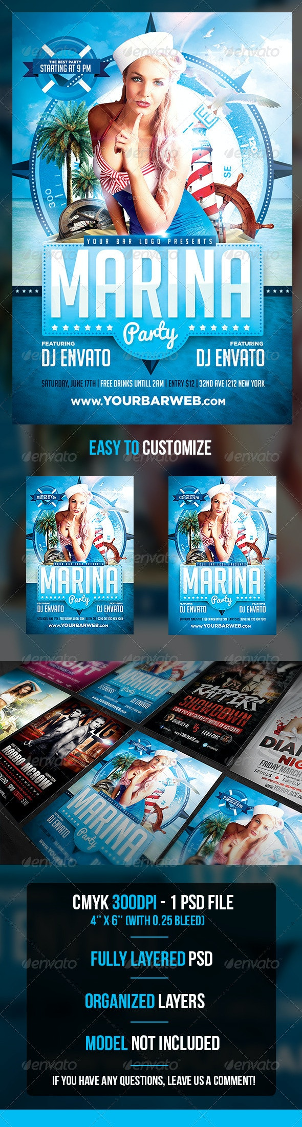 Marina Party Flyer Template - Flyers Print Templates