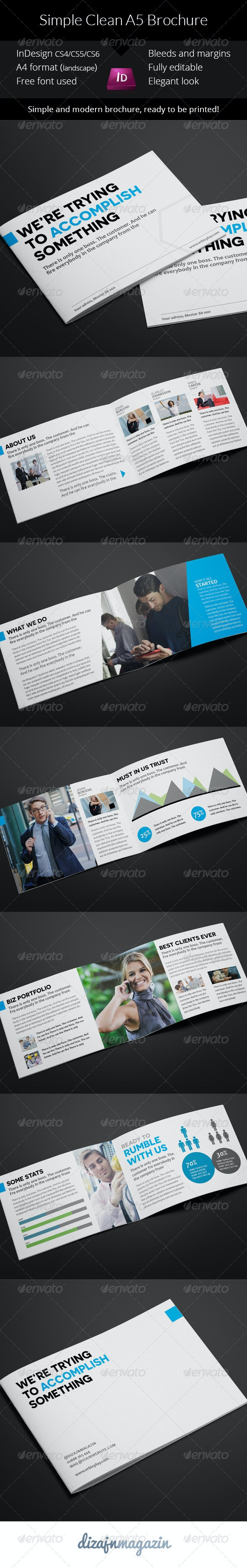 Simple Clean A5 Brochure - InDesign Template - Brochures Print Templates