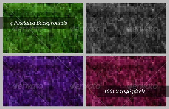 Pixelated Backgrounds (Pack of 4) - Backgrounds Graphics
