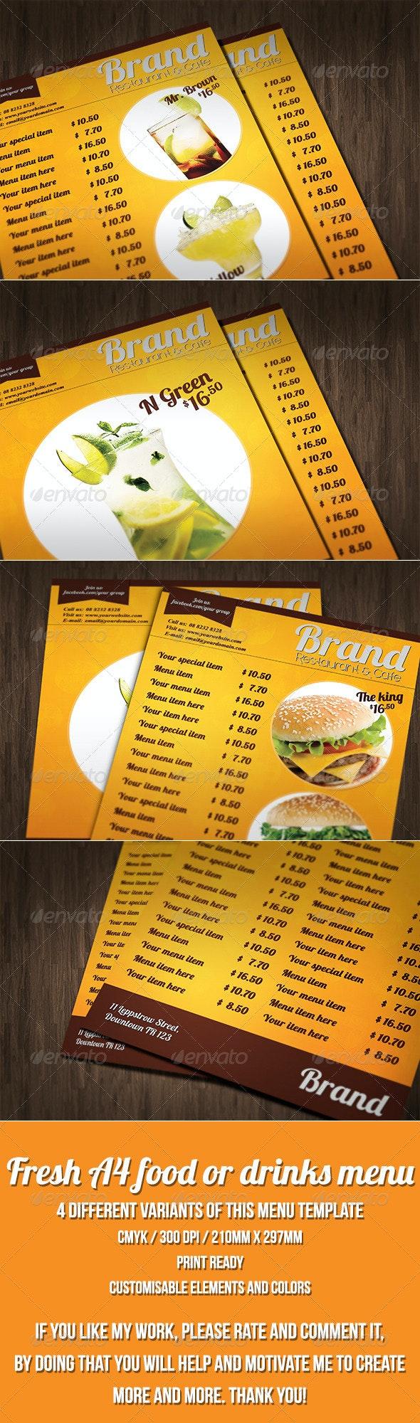 Multipurpose A4 food or drinks menu template - Food Menus Print Templates