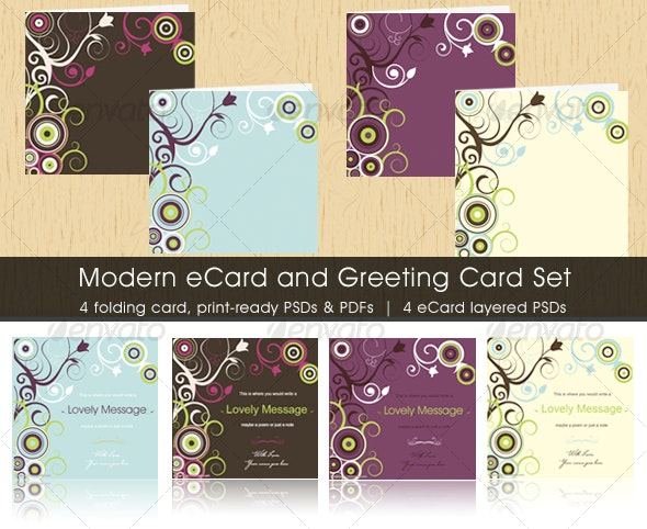 Modern eCard and Greeting Card Set - Miscellaneous Print