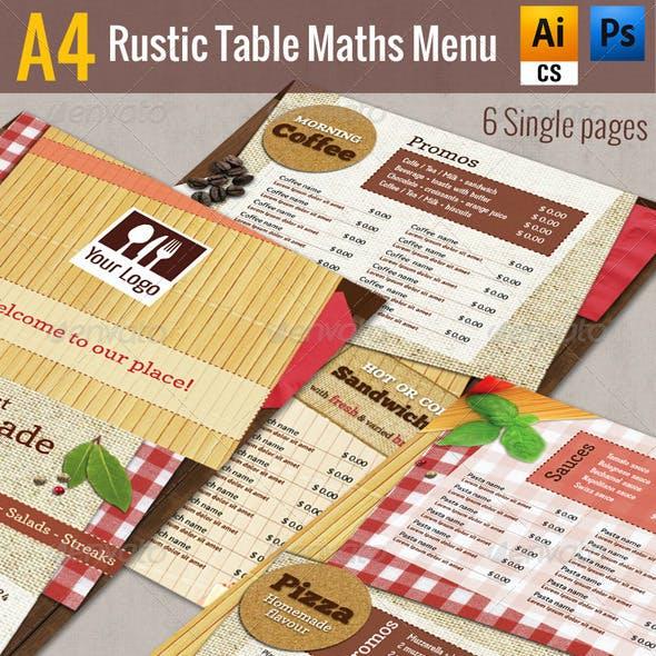 A4 Rustic Table Mats Menu - Restaurant Pack