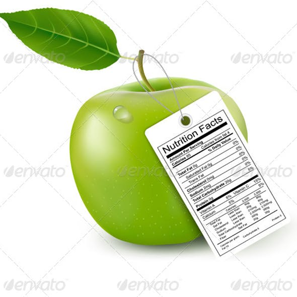 Apple with Nutrition Facts Label