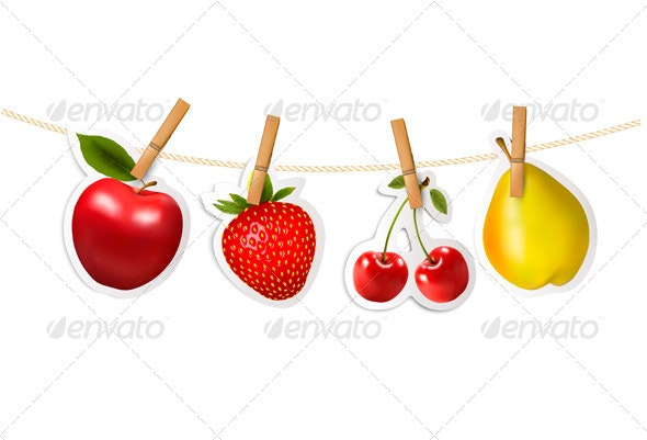 Fruit Stickers Hanging on a Rope - Food Objects
