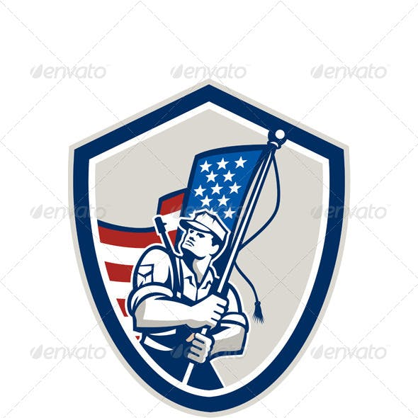 American Soldier Waving Flag Shield