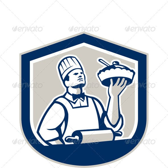 Chef Cook Holding Roller Plate Retro