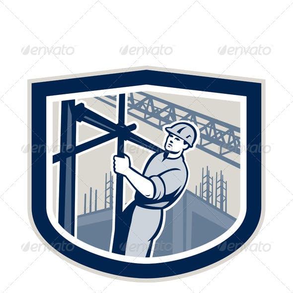 Construction Worker Climbing Scaffolding Shield