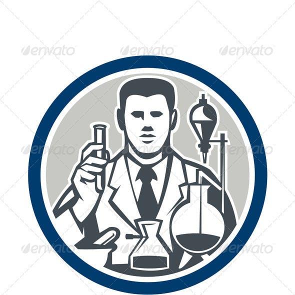 Scientist Lab Researcher Chemist Retro Circle