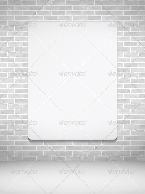 Vertical Poster on Brick Wall - Objects Vectors
