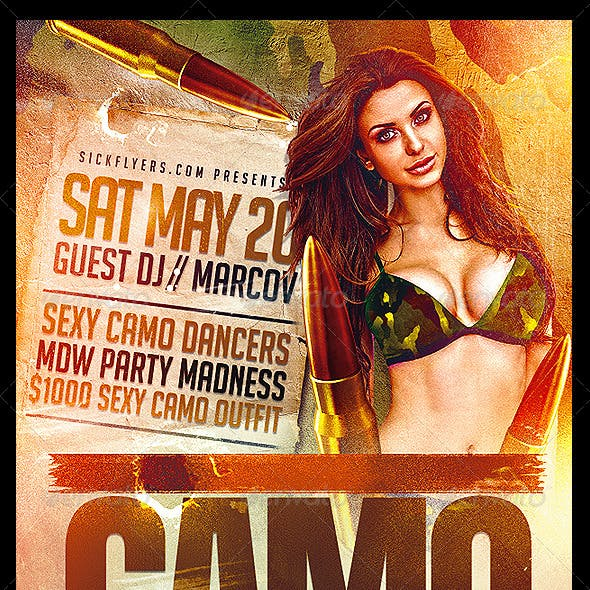 Camo Party Flyer Template PSD