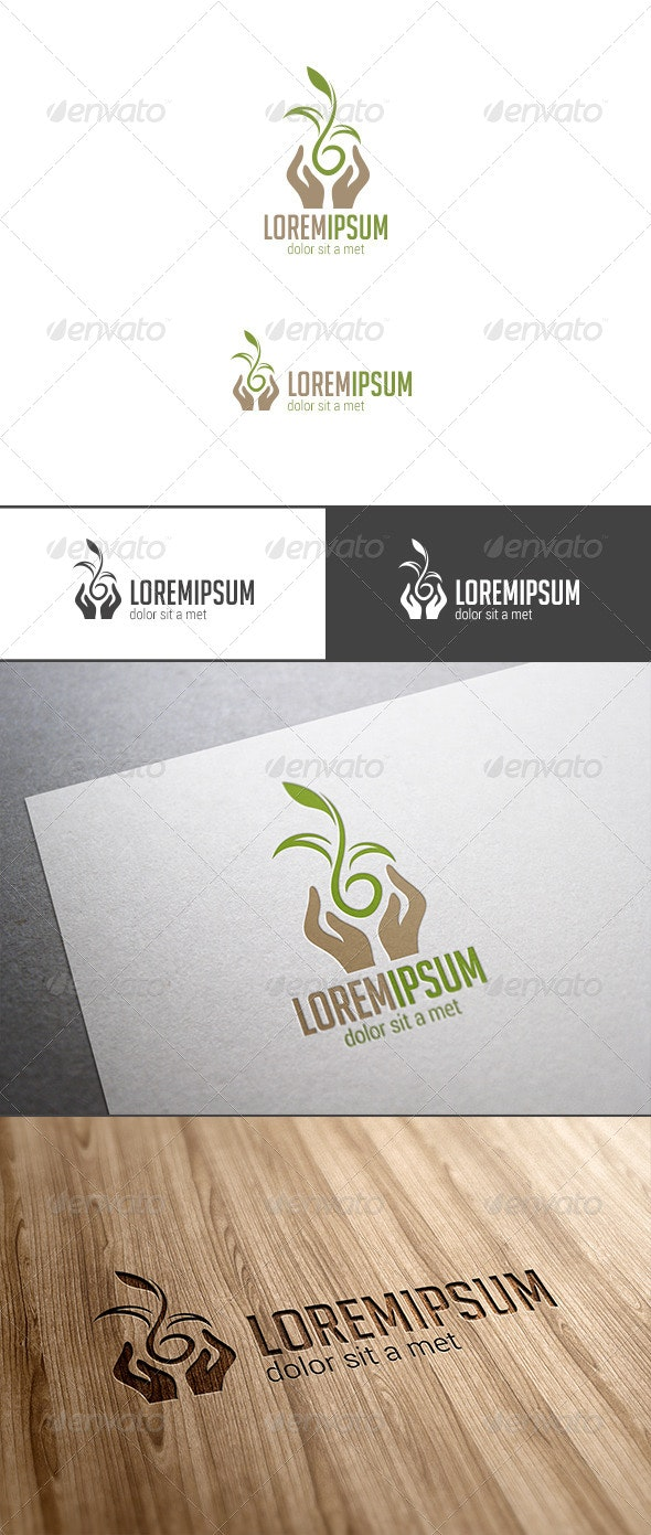 Hands Holding Plant Logo - Nature Logo Templates