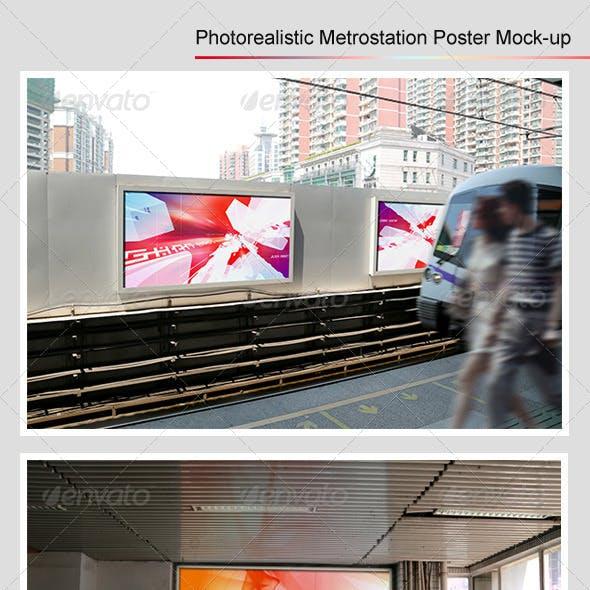Photorealistic Metrostation Poster Mock-up