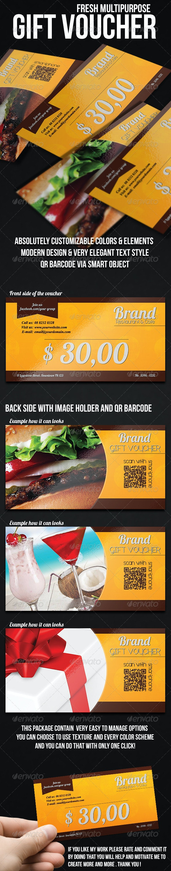 Fresh multipurpose gift voucher - Cards & Invites Print Templates