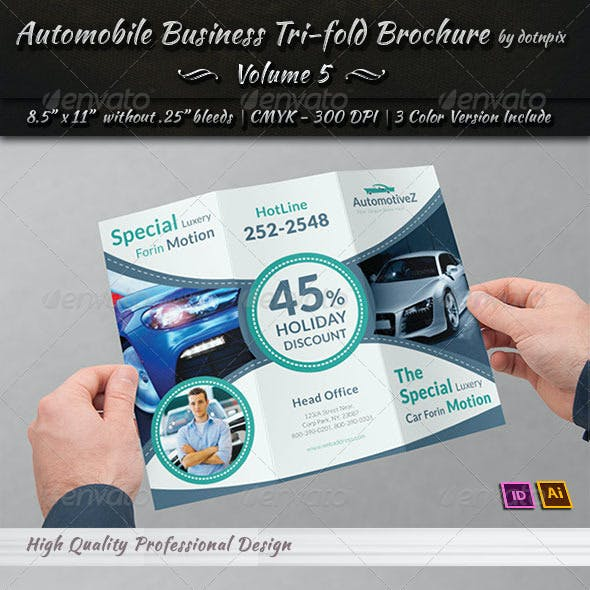 Automobile Business Tri-Fold Brochure   Volume 5