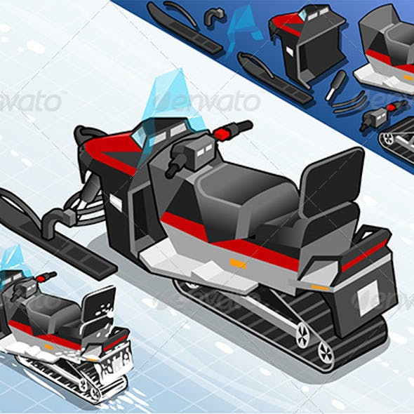 Rear View Isometric Snowmobile
