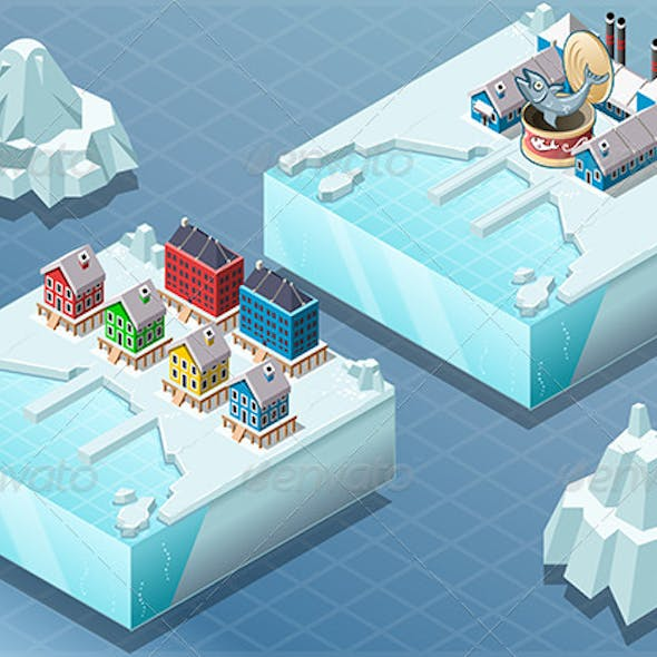Isometric Arctic Town and Fish Canning Factory