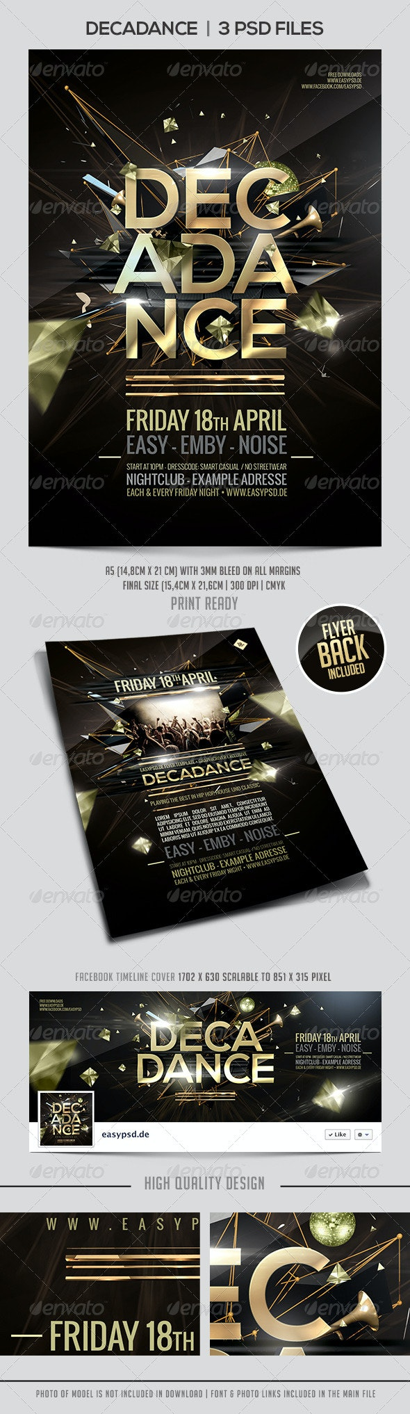 Decadance Flyer Template - Clubs & Parties Events