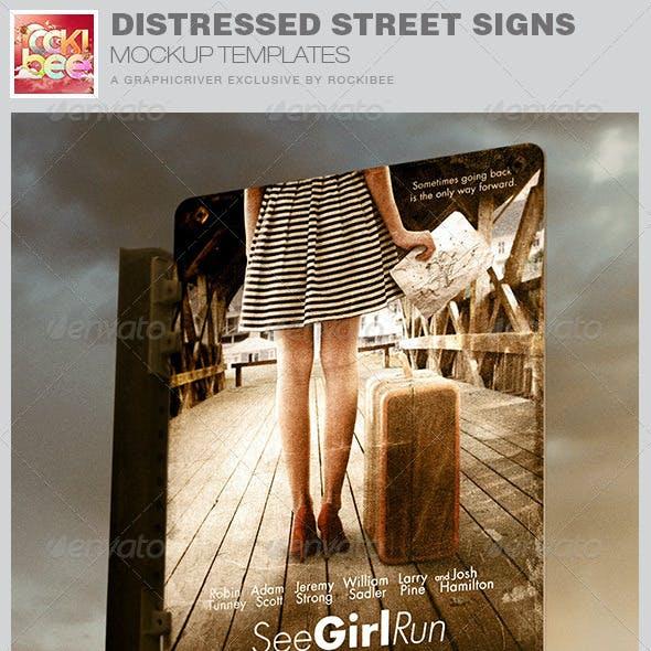 Distressed Street Signs Mockup Templates