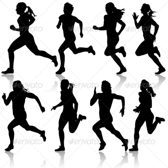 Set of Women Running Silhouettes