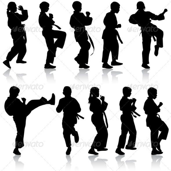 Set of Kids Karate Silhouettes