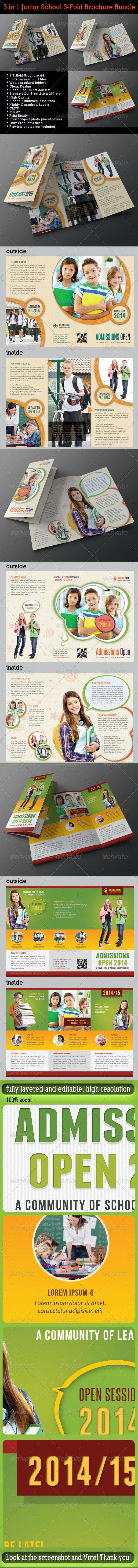 3 in 1 Junior School Promotion Brochure Bundle 01 - Brochures Print Templates