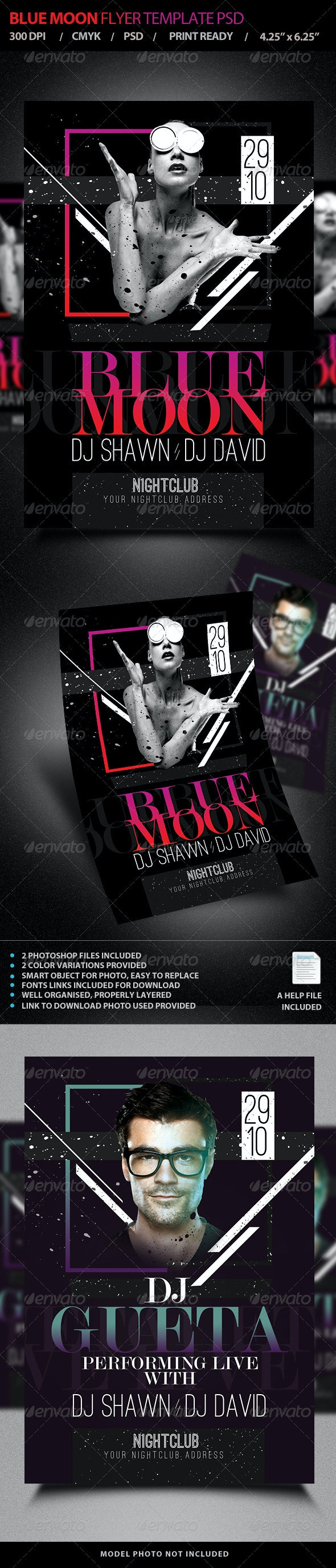 Blue Moon / Live DJ Flyer Template PSD V4 - Clubs & Parties Events