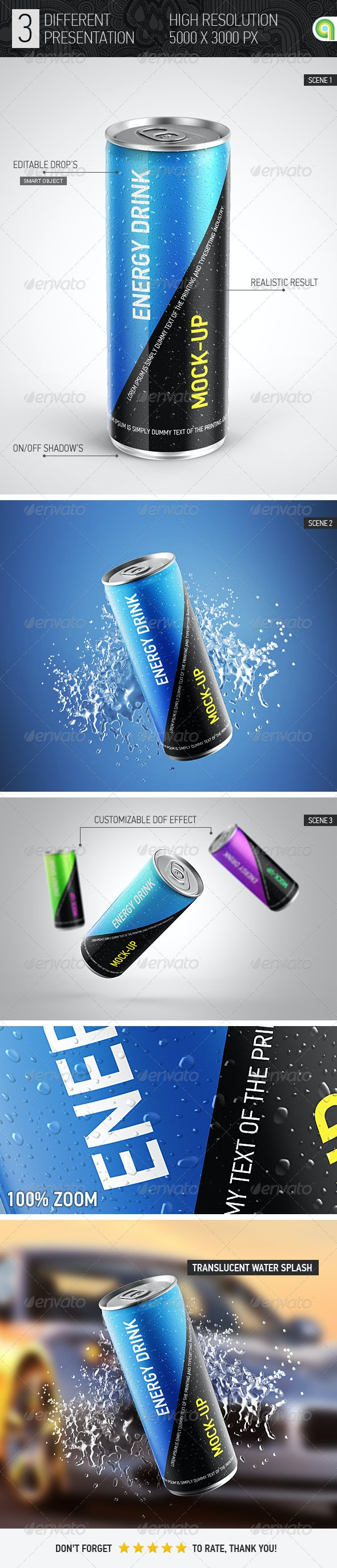 Energy Drink Can Mockup - Food and Drink Packaging