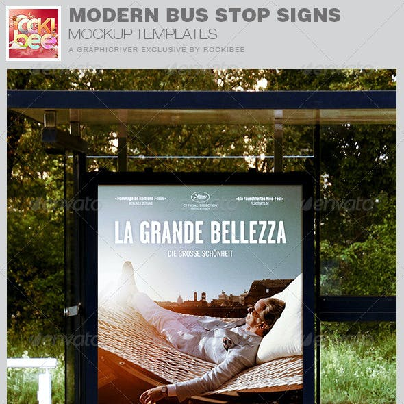 Modern Bus Stop Signs Mockup Templates