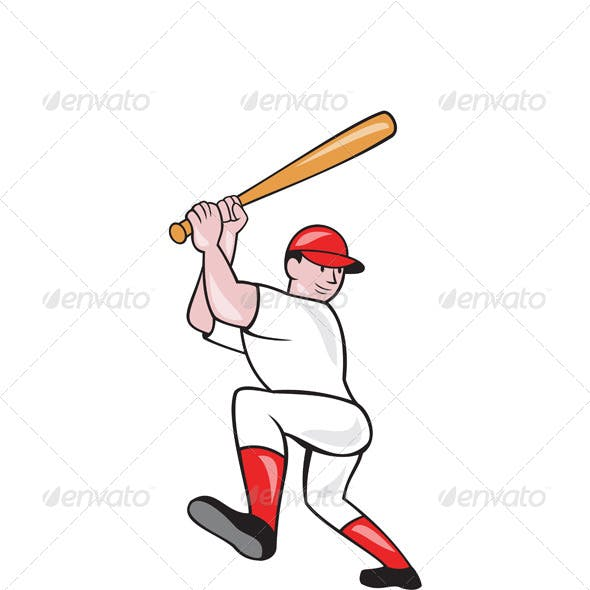 Baseball Player Batting Isolated Full Cartoon