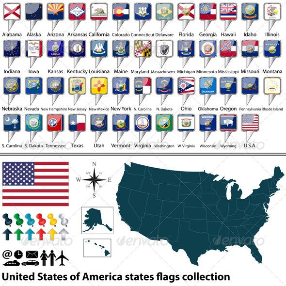 USA States Flags Collection